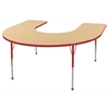 "60""x66"" Horseshoe T-Mold Activity Table, Maple/Red/Toddler Ball"