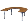 "60""x66"" Horseshoe T-Mold Activity Table, Oak/Navy/Chunky"