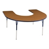"60""x66"" Horseshoe T-Mold Activity Table, Oak/Navy/Toddler Swivel"