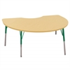 "48""x72"" Kidney T-Mold Activity Table, Maple/Maple/Green/Standard Swivel"