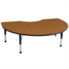 "48""x72"" Kidney T-Mold Activity Table, Oak/Black/Chunky"