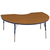 "48""x72"" Kidney T-Mold Activity Table, Oak/Navy/Standard Swivel"