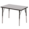 "24""x36"" Rectangular T-Mold Activity Table, Grey/Black/Standard Swivel"