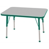 "24""x36"" Rectangular T-Mold Activity Table, Grey/Green/Toddler Ball"