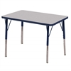 "24""x36"" Rectangular T-Mold Activity Table, Grey/Navy/Standard Swivel"
