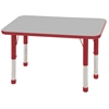 "24""x36"" Rectangular T-Mold Activity Table, Grey/Red/Chunky"