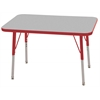 "24""x36"" Rectangular T-Mold Activity Table, Grey/Red/Standard Swivel"