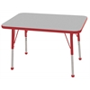 "24""x36"" Rectangular T-Mold Activity Table, Grey/Red/Toddler Ball"