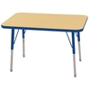 "24""x36"" Rectangular T-Mold Activity Table, Maple/Blue/Standard Swivel"