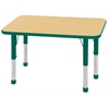 "24""x36"" Rectangular T-Mold Activity Table, Maple/Green/Chunky"