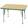 "24x36"" Rect Table Maple/Green-Standard Ball"