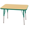 "24""x36"" Rectangular T-Mold Activity Table, Maple/Green/Standard Swivel"