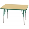 "ECR4Kids 24x36"" Rect Table Maple/Green-Standard Swivel"