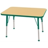 "24""x36"" Rectangular T-Mold Activity Table, Maple/Green/Toddler Ball"