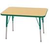 "24""x36"" Rectangular T-Mold Activity Table, Maple/Green/Toddler Swivel"