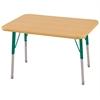 "24""x36"" Rectangular T-Mold Activity Table, Maple/Maple/Green/Standard Swivel"