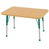 "24""x36"" Rectangular T-Mold Activity Table, Maple/Maple/Green/Toddler Ball"