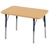 "24""x36"" Rectangular T-Mold Activity Table, Maple/Maple/Navy/Standard Swivel"