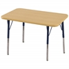 "24""x36"" Rectangular T-Mold Activity Table, Maple/Maple/Navy/Toddler Swivel"