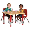 """24""""x36"""" Rectangular T-Mold Activity Table, Maple/Maple/Red/Chunky"""