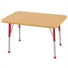 "24""x36"" Rectangular T-Mold Activity Table, Maple/Maple/Red/Standard Ball"