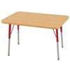 "24""x36"" Rectangular T-Mold Activity Table, Maple/Maple/Red/Standard Swivel"