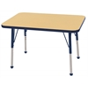 "24""x36"" Rectangular T-Mold Activity Table, Maple/Navy/Standard Ball"