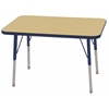 "24""x36"" Rectangular T-Mold Activity Table, Maple/Navy/Standard Swivel"