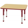 "ECR4Kids 24x36"" Rect Table Maple/Red -Chunky"