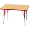 "24""x36"" Rectangular T-Mold Activity Table, Maple/Red/Standard Swivel"