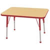 "24""x36"" Rectangular T-Mold Activity Table, Maple/Red/Toddler Ball"