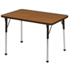 "24""x36"" Rectangular T-Mold Activity Table, Oak/Black/Toddler Ball"