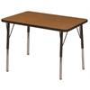 "24""x36"" Rectangular T-Mold Activity Table, Oak/Black/Toddler Swivel"