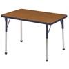 "24""x36"" Rectangular T-Mold Activity Table, Oak/Navy/Standard Ball"