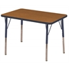 "24""x36"" Rectangular T-Mold Activity Table, Oak/Navy/Standard Swivel"