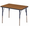 "ECR4Kids 24x36"" Rect Table Oak/Navy-Standard Swivel"