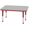 "24""x48"" Rectangular T-Mold Activity Table, Grey/Red/Chunky"