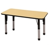 "24""x48"" Rectangular T-Mold Activity Table, Maple/Black/Chunky"