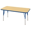"24""x48"" Rectangular T-Mold Activity Table, Maple/Blue/Standard Swivel"