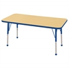 "24""x48"" Rectangular T-Mold Activity Table, Maple/Blue/Toddler Ball"