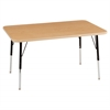 "24""x48"" Rectangular T-Mold Activity Table, Maple/Maple/Black/Standard Swivel"