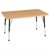 "24""x48"" Rectangular T-Mold Activity Table, Maple/Maple/Black/Toddler Ball"