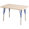 "24""x48"" Rectangular T-Mold Activity Table, Maple/Maple/Blue/Standard Swivel"