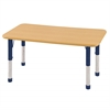 "24""x48"" Rectangular T-Mold Activity Table, Maple/Maple/Navy/Chunky"
