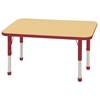 "24""x48"" Rectangular T-Mold Activity Table, Maple/Red/Chunky"
