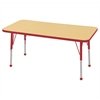 "24""x48"" Rectangular T-Mold Activity Table, Maple/Red/Standard Ball"