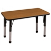 "24""x48"" Rectangular T-Mold Activity Table, Oak/Black/Chunky"