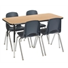 "ECR4Kids 24x48"" Rect Table Oak/Black-Standard Swivel"