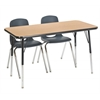 "ECR4Kids 24x48"" Rect Table Oak/Black-Toddler Swivel"