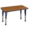 "24""x48"" Rectangular T-Mold Activity Table, Oak/Navy/Chunky"